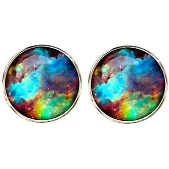 Bassin and Brown Nebula and Galaxy Cufflinks - Blue/Green/Wine