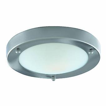 1 salle de bains légère Flush Plafond Lumière Satin Argent Ronde Avec Dôme Verre Diffuseur Ip44