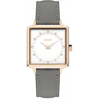 Watch Amalys JULIA - IP Rose grey female leather strap White Dial steel
