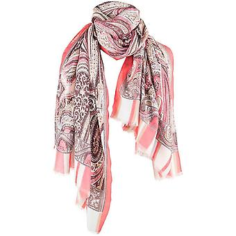 Michelsons of London Large Paisley Scarf - Blue/Pink