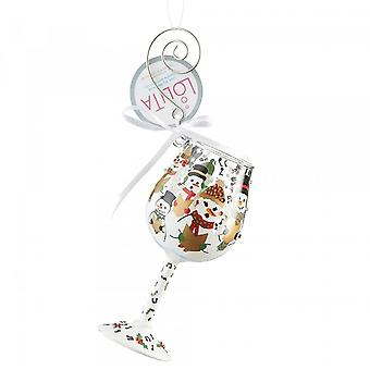 Lolita Singing In The Snow Glass Hanging Ornament