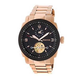 Heritor Automatic Helmsley Semi-Skeleton Bracelet Watch - Rose Gold/Black