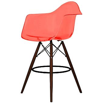 Charles Eames Style Clear Red Plastic Bar Stool With Arms - Walnut Legs