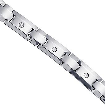 Tungsten Mens Polished CZ Cubic Zirconia Simulated Diamond Cubic Zirconia Fancy Bracelet 12mm 8.5 Inch Jewelry Gifts for