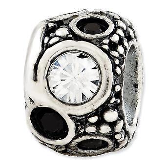 925 sterling silver reflections blanco y negro cristal cristal abalorios encanto colgante collar regalos de joyería para las mujeres