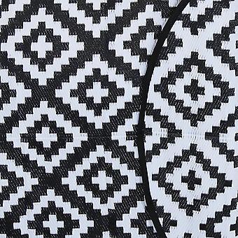 Charles Bentley Vandtæt indendørs eller Patio Medium runde tæppe sort udendørs mønster Diamant Form 150 x 150