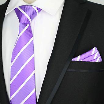 Purple & white stripe pattern tie & pocket square set