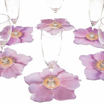 6 glass coasters motif flower Anemone pink