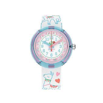Flik Flak Relógios Fpnp055 Como Se Llama Relógio Têxtil Azul, Branco e Rosa
