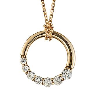 14K Yellow Gold Forever One Circle Journey Necklace, 0.87cttw DEW