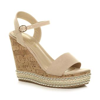 Ajvani womens high wedge heel studded espadrille cork platform sandals