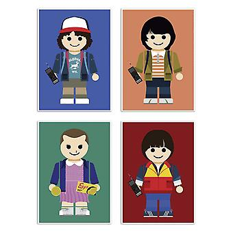 4 Art-Posters 20 x 30 cm - Stranger Things Toys Pack - Rafa Gomes 20 x 30 cm