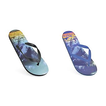 Sand Rocks Mens Surf Rider Print Flip Flops