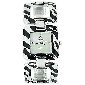 Taito London Ladies Mother Of Pearl Dial Silver & Black Metal Square Link Watch