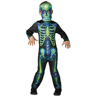 Tuta scheletro costume da neon di costume di scheletro al neon per bambini