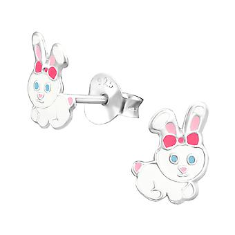 Rabbit - 925 Sterling Silver Colourful Ear Studs - W37918x