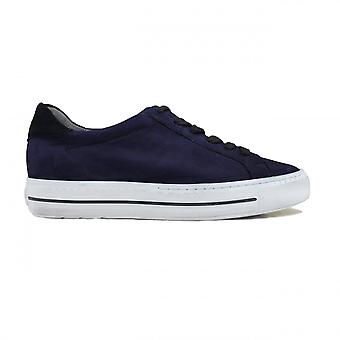 Paul Green 4835-06 Marinha Nubuck Couro Mulheres Lace Up Trainers