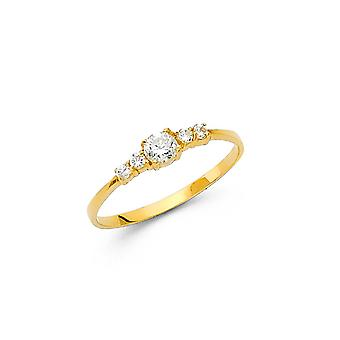 14k Yellow Gold Boys and Girls CZ Cubic Zirconia Simulated Diamond Ring Taille 3 - .6 Grammes