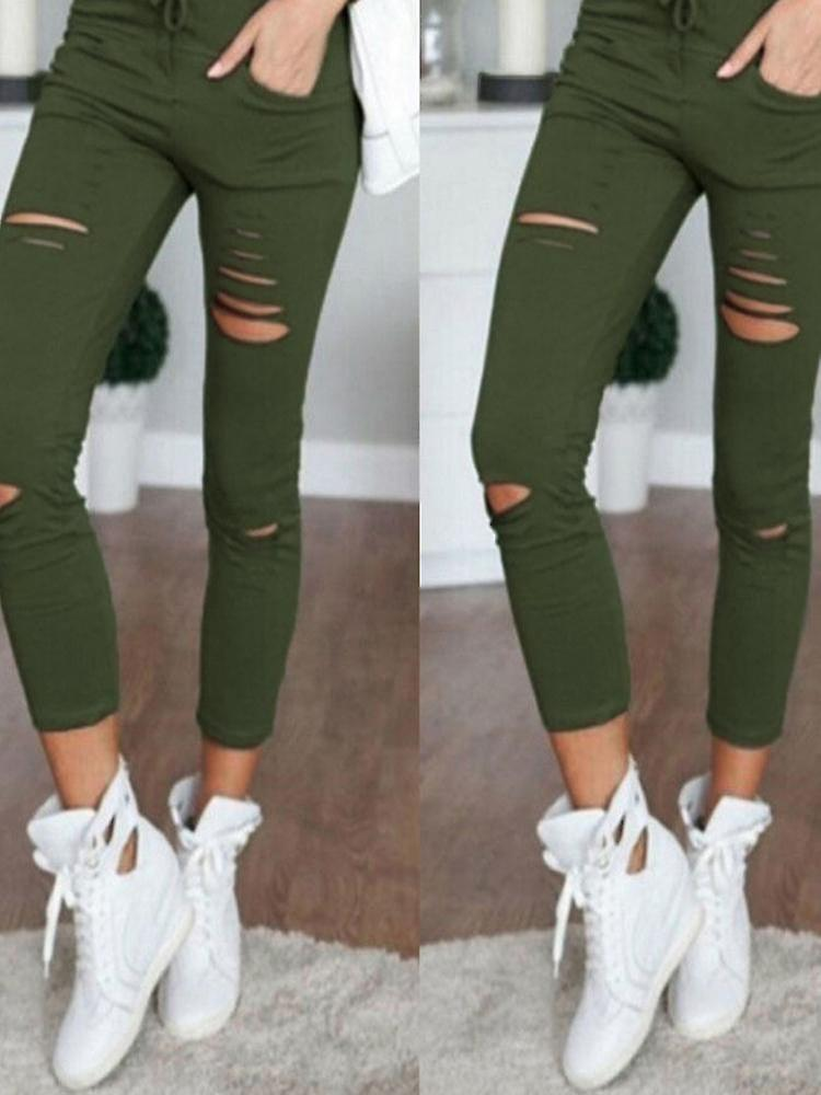 Women causal holes high waist loose solid skinny jeans 3BqrJG