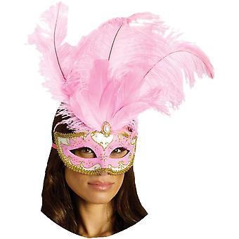 Masque du carnaval Feathr Big Pink pour Masquerade