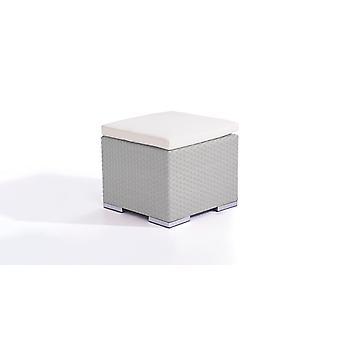 Polyrattan Cube kruk 50 cm - grijs satijn