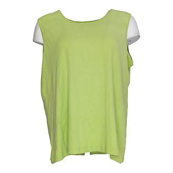 Amadora Sport Women's Top Stretch Knit Scoop Neck Tank Green