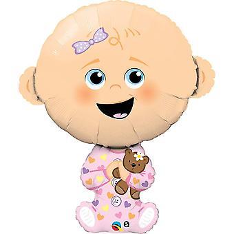 Baby Girl Girl Balloon 97 cm Foil Balloon XXL Helium Balloon Baby Balloon Giant Balloon Walker Pink