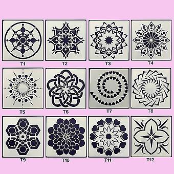 Mandala Dotting Vorlagen Schablone Werkzeuge Set für Diy Malerei, Zeichnung,