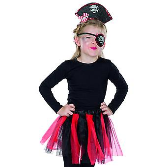 Piratin Set 3 tlg. Seeräuber Tüllrock Augenklappe Pirat Kinder Kostüm