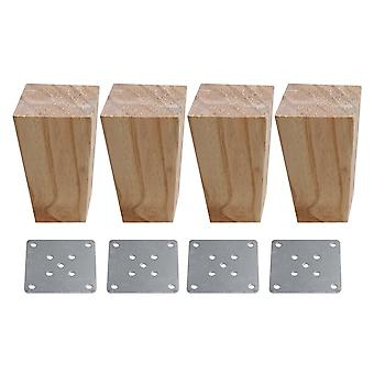 4pcs Wood Trapezoid Furniture Foot Leg Feet 6*4*12cm