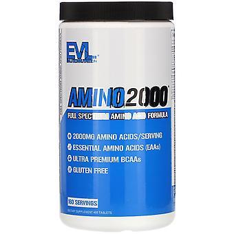 EVLution Nutrition, AMINO2000, Full Spectrum Amino Acid Formula, 480 Tablets