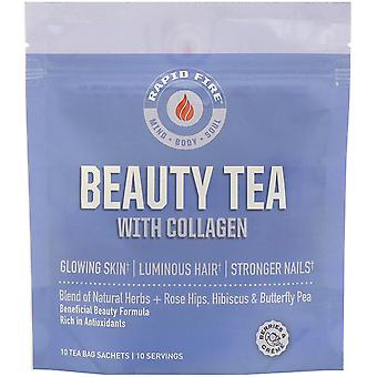 RAPIDFIRE, Beauty Tea with Collagen, Berries & Creme, 10 Tea Bag Sachets