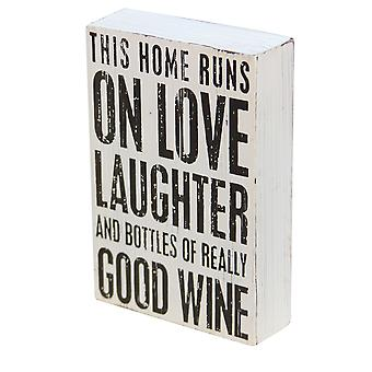 Wooden Hanging Plaque - Wine Theme - Laughter - Gift Item