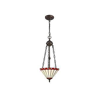 Éclairage Luminosa - 2 Light Uplighter Plafond Pendentif E27 Avec 30cm Tiffany Shade, Rouge, Cristal, Laiton Antique Vieilli