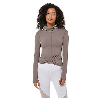 Frauen Yoga Crop Twist Front lange Ärmel Daumenloch Turtleneck Top