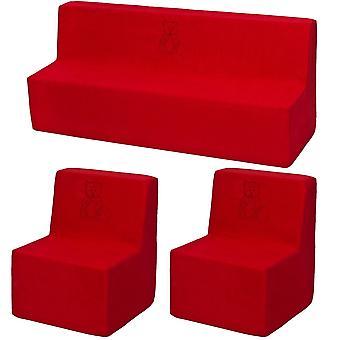 Muebles para niños pequeños set de rojo extendido