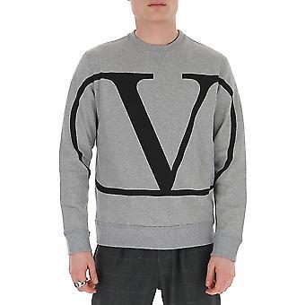 Valentino Tv3mf05h5f7l80 Hombres's Sudadera de algodón gris