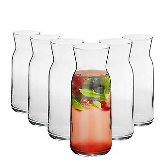 6 Piece Brocca Glass Water Carafe Set - Decanter Jug for Water, Wine, Iced Tea - 700ml