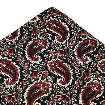 Krawatten Planet Tootal schwarz, rot, grün & Elfenbein Paisley Seide Tasche Platz Taschentuch