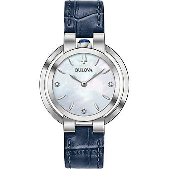 Bulova 96p196 Rubaiyat Mother Of Pearl, Silver & Navy Blue Leather Ladies Watch