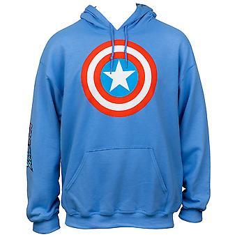 Symbole de bouclier de Captain America avec le texte d'impression de manche tirez au-dessus du hoodie
