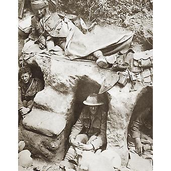 British Army Border Regiment Soldiers Occupying Front Line Trenches In Thiepval Wood The Somme France During World War 1 From The Story Of 25 Eventful Years In Pictures Published 1935 PosterPrint