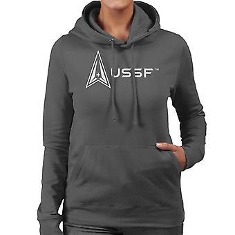U.S. Space Force Light Logo Alongside USSF Text Women's Hooded Sweatshirt