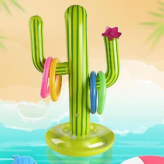 1set Inflatable Cactus Ring Toss Game- Inflatable Toss Game Pool, Hawaii Party