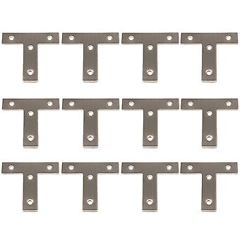 6x6 cm T Shaped Repair Plate Corner Brackets Joining Connector Set of 12