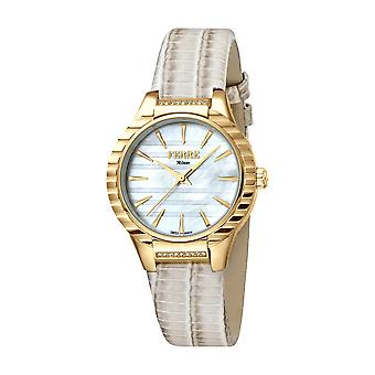 Ferre Milano Ladies White MOP Dial Ivory Leather Strap Watch