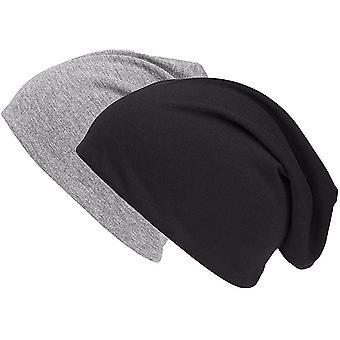 Set van 2 Zwarte en Grijze Jersey Long Spring Hat