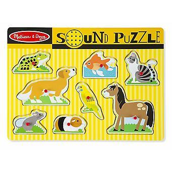 Melissa & Doug Kæledyr Sound Puzzle - Træ Peg puslespil med lydeffekter (8 stk)