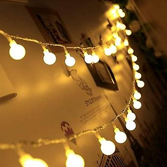 Led String Lights With White Ball Holiday Decoration Lamp Festival Christmas