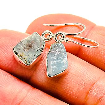 "Rough Aquamarine Earrings 1 1/8"" (925 Sterling Silver)  - Handmade Boho Vintage Jewelry EARR409133"